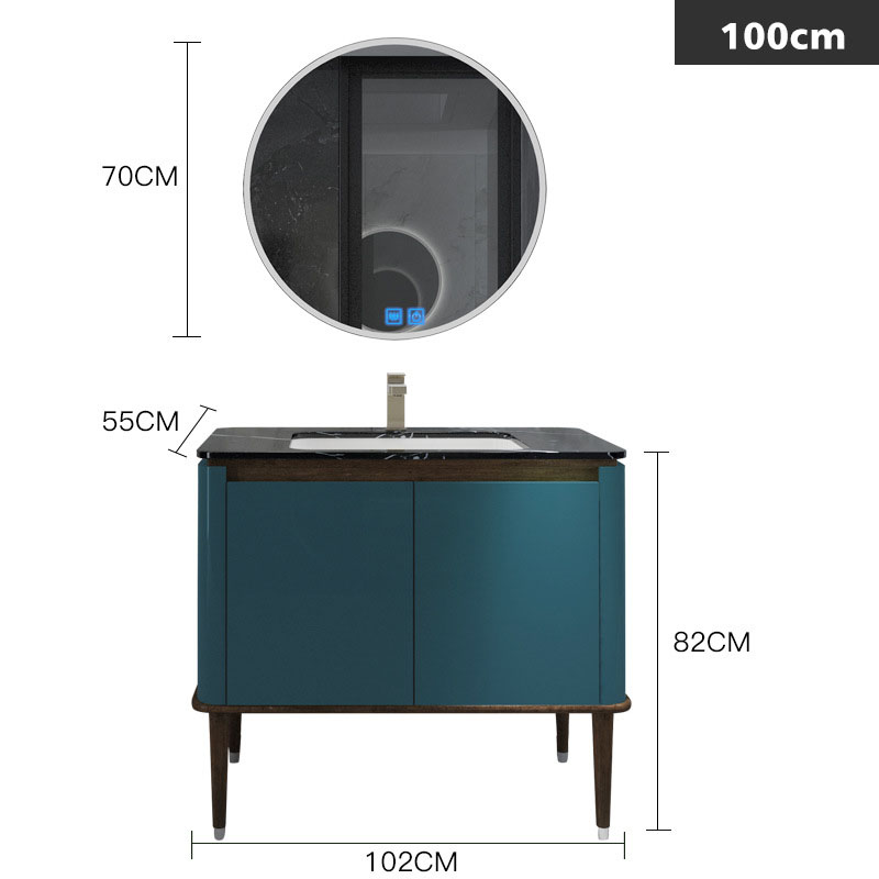 Bộ tủ gương và tủ lavabol phong cách Bắc Âu cho không gian hiện đại đẳng cấp YF1117 size 100cm màu xanh