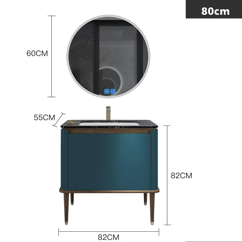 Bộ tủ gương và tủ lavabol phong cách Bắc Âu cho không gian hiện đại đẳng cấp YF1117 size 80cm  màu xanh