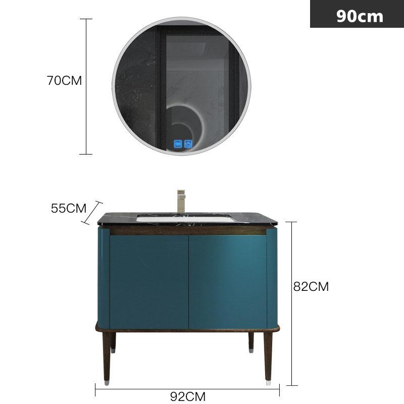 Bộ tủ gương và tủ lavabol phong cách Bắc Âu cho không gian hiện đại đẳng cấp YF1117 size 90cm màu xanh