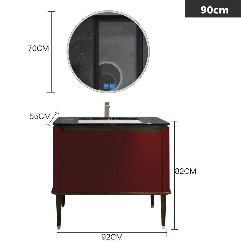 Bộ tủ gương và tủ lavabol phong cách Bắc Âu cho không gian hiện đại đẳng cấp YF1117 size 90cm  màu đỏ