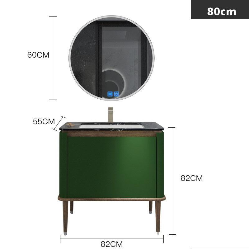Bộ tủ gương và tủ lavabol phong cách Bắc Âu cho không gian hiện đại đẳng cấp YF1117 size 80cm  màu xanh lá cây