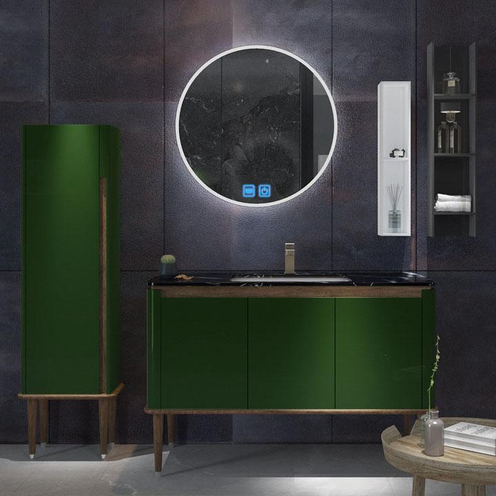 Bộ tủ gương và tủ lavabol phong cách Bắc Âu cho không gian hiện đại đẳng cấp YF1117 size 110cm màu xanh lá cây
