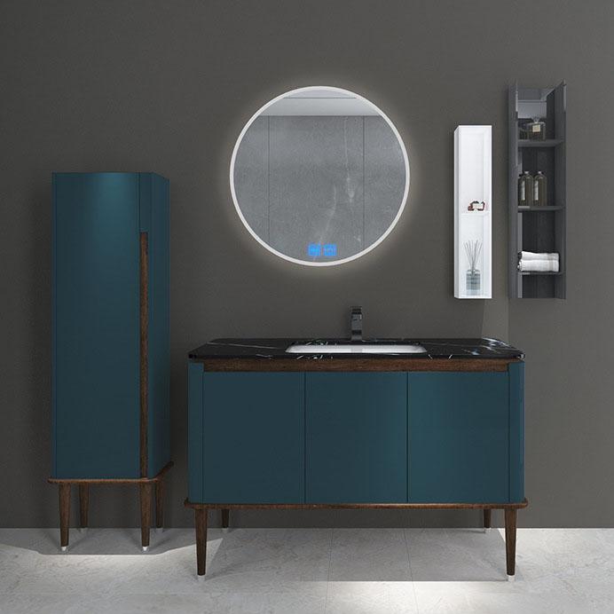 Bộ tủ gương và tủ lavabol phong cách Bắc Âu cho không gian hiện đại đẳng cấp YF1117 size 110cm màu xanh