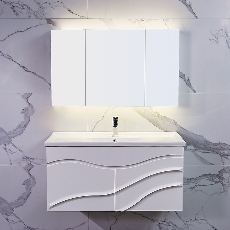 Bộ tủ gương và tủ lavabol phong cách Bắc Âu cho không gian hiện đại đẳng cấp YF1104 size 90cm