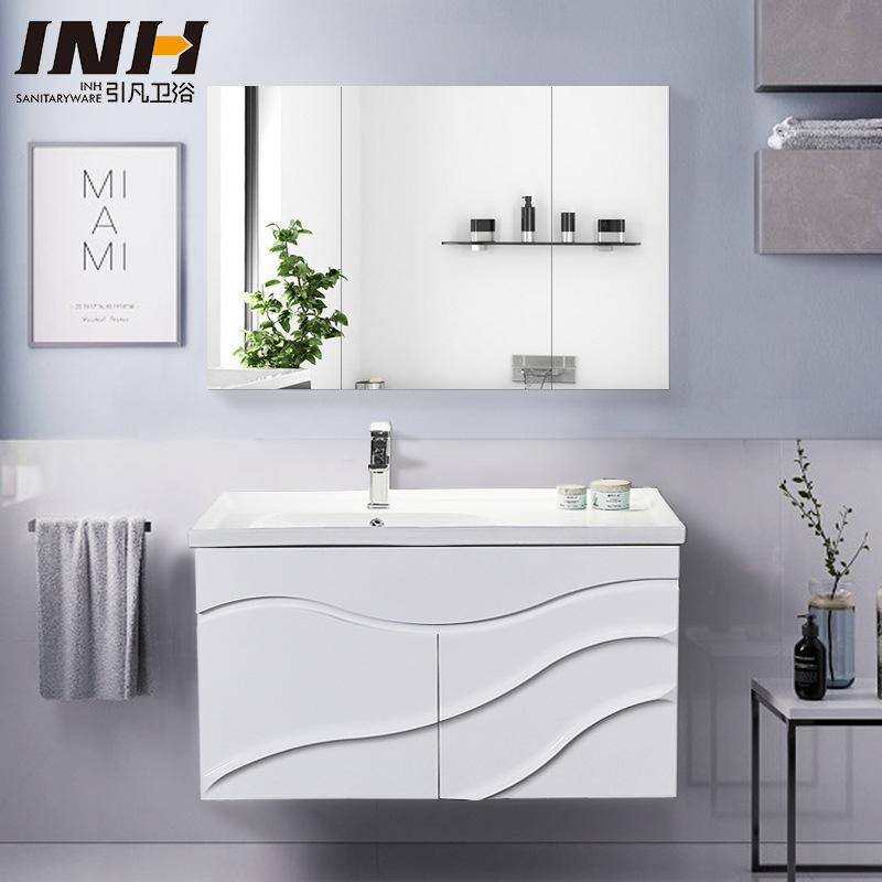 Bộ tủ gương và tủ lavabol phong cách Bắc Âu cho không gian hiện đại đẳng cấp YF1104 size 80cm