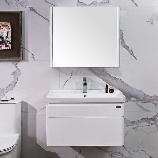 Bộ tủ gương và tủ lavabol phong cách Bắc Âu cho không gian hiện đại đẳng cấp YF1106 size 80cm gương vuông