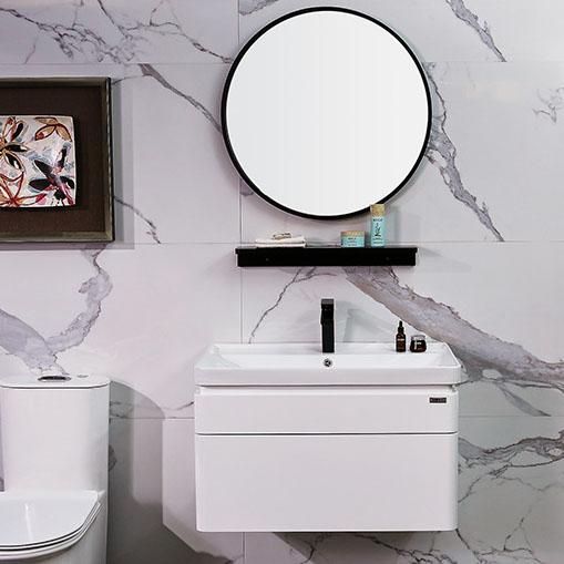Bộ tủ gương và tủ lavabol phong cách Bắc Âu cho không gian hiện đại đẳng cấp YF1106 size 70cm gương tròn không có kệ