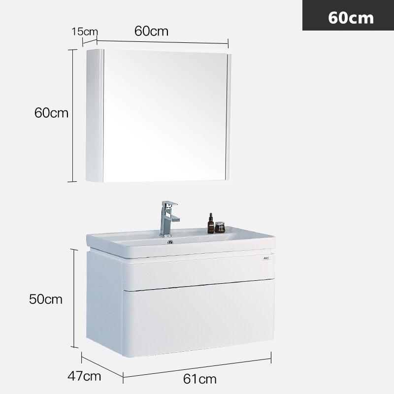 Bộ tủ gương và tủ lavabol phong cách Bắc Âu cho không gian hiện đại đẳng cấp YF1106 size 60cm gương vuông