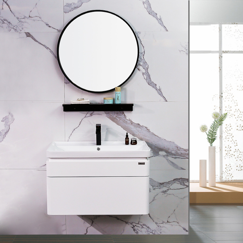 Bộ tủ gương và tủ lavabol phong cách Bắc Âu cho không gian hiện đại đẳng cấp YF1106 size 60cm gương tròn không có kệ