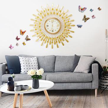Đồng hồ treo tường hình chiếc lá và giọt sương kết hợp decal bướm 3D đặc sắc sẽ là điểm nhấn ấn tượng cho không gian nhà bạn BS8178MK-60L001