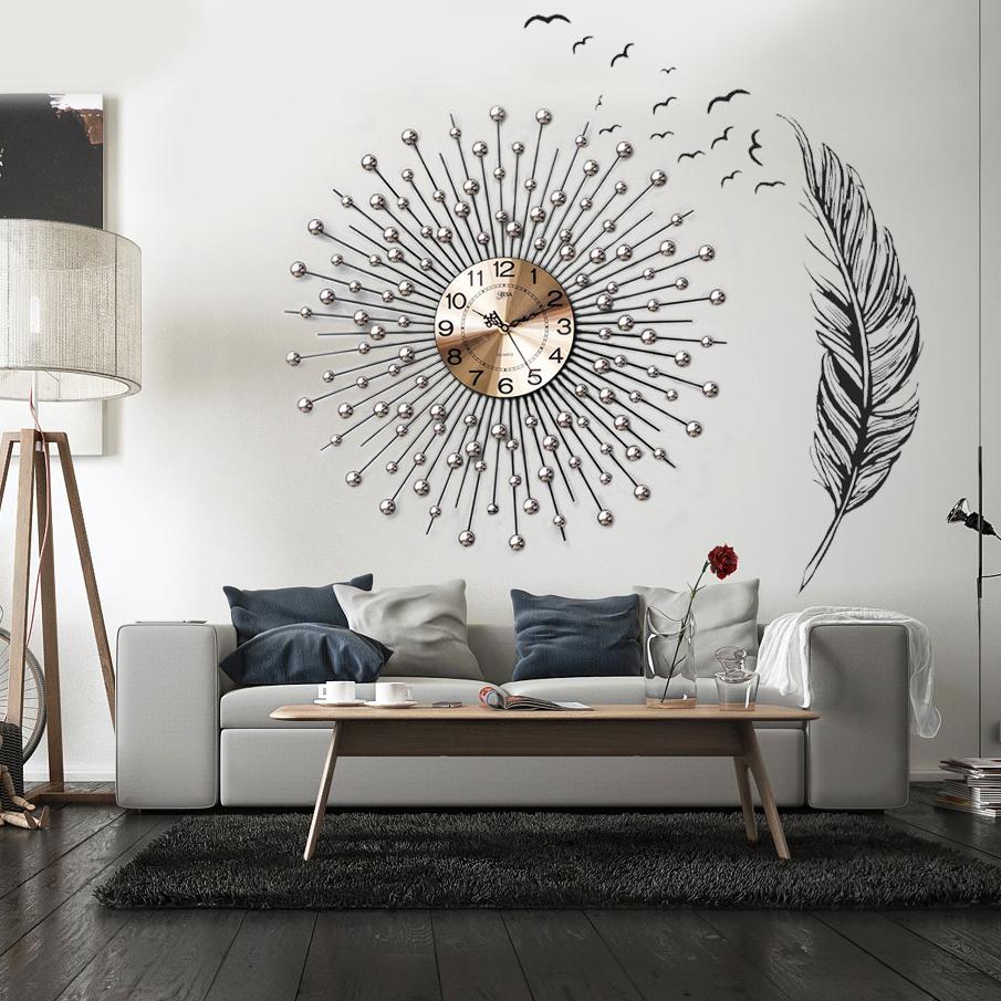 Đồng hồ treo tường pha lê mặt trời kết hợp decal dán tường đặc biệt ấn tượng  BS6008_75AF2409