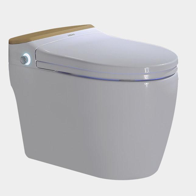 Bồn cầu vệ sinh thông minh nút xoáy cảm ứng YF2114A khoảng cách hố 30cm màu vàng champagne