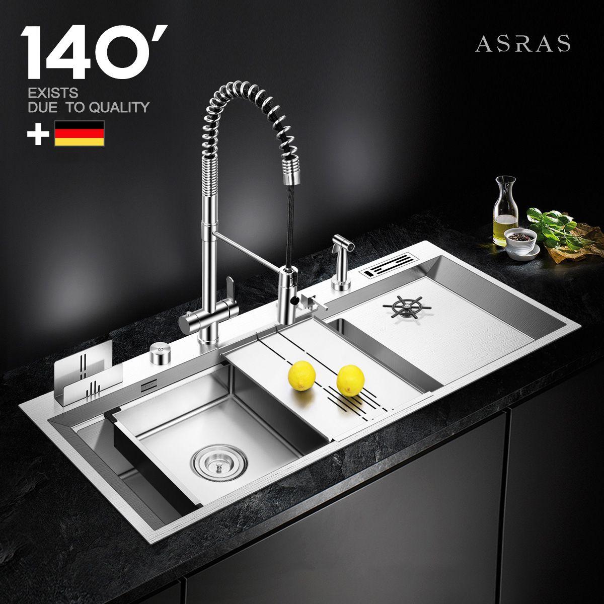 Chậu rửa bát thông minh đa chức năng tích hợp vòi phun rửa cốc chén tự động vô cùng tiện lợi AS-11850T