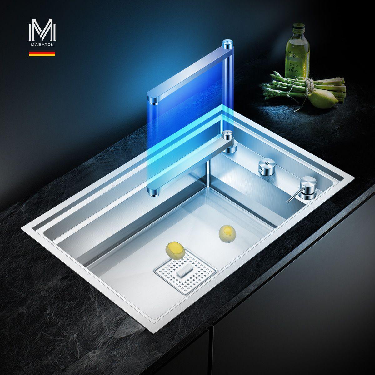 Chậu rửa bát thông minh với vòi nước tích hợp 2 loại nước có thể ấn xuống gấp gọn biến hóa thành thớt tiện lợi cho gian bếp hiện đại MT-7247S