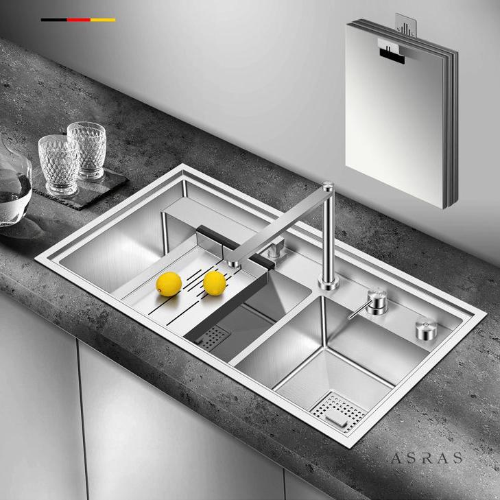 Chậu rửa bát thông minh với vòi tích hợp 2 loại nước có thể ấn xuống biến hóa thành thớt chế biến đa năng cho gian bếp hiện đại AS-7247Y