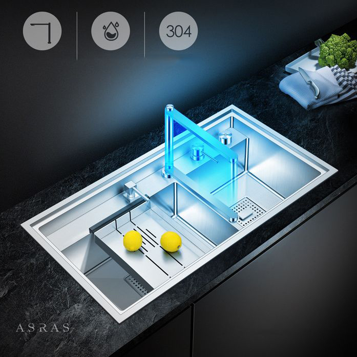 Chậu rửa bát thông minh với vòi tích hợp 2 loại nước có thể ấn xuống biến hóa thành thớt chế biến đa năng cho gian bếp hiện đại AS-8847Y-SG