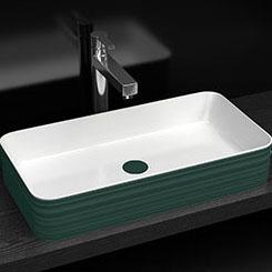 Chậu rửa lavabo thiết kế hiện đại ấn tượng YF6002A màu xanh