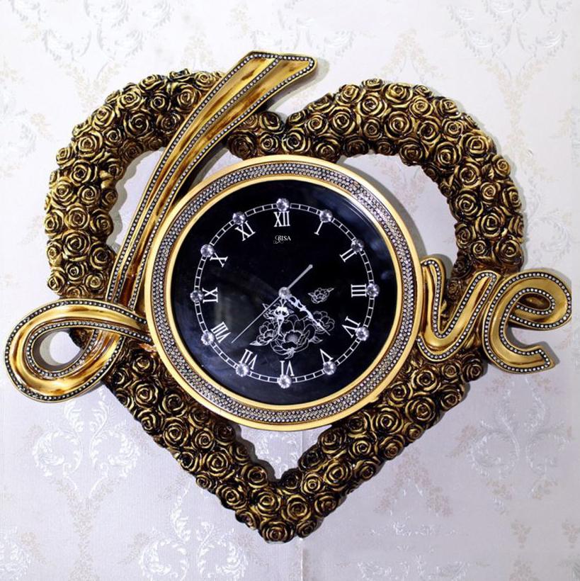 Đồng hồ treo tường chữ LOVE đẳng cấp Hoàng Gia sang trọng đầy ấn tượng BS6852-GOLD