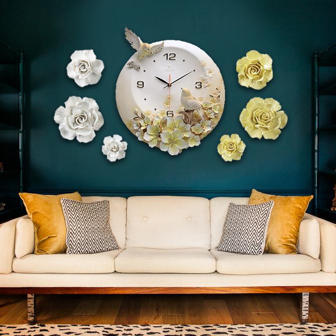 Đồng hồ thiết kế hình hoa nghệ thuật cho không gian thêm ấn tượng ZB0006A_HA