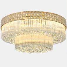 Đèn LED pha lê ốp trần điều khiển từ xa cho phòng khách thêm sang trọng đầy ấn tượng D800 - 2 LỚP