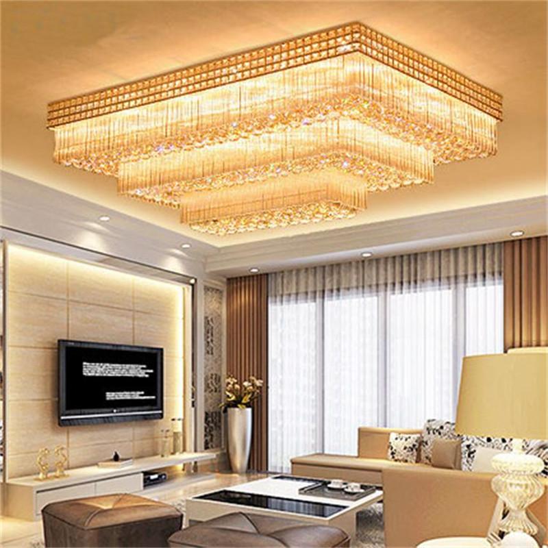 Đèn LED pha lê ốp trần điều khiển từ xa cho phòng khách thêm sang trọng đầy ấn tượng LA8226 size 75x105cm