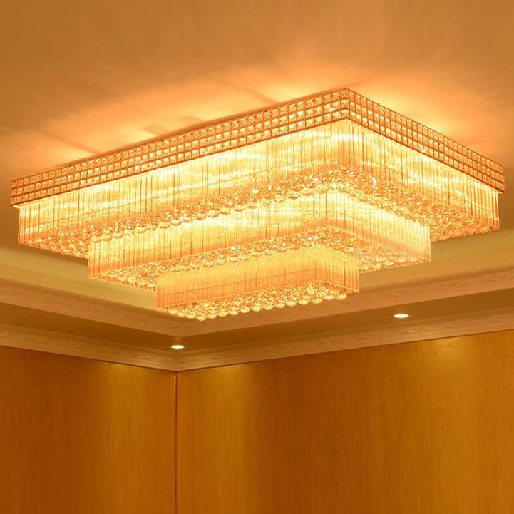 Đèn LED pha lê ốp trần điều khiển từ xa cho phòng khách thêm sang trọng đầy ấn tượng LA8226 size 120X80cm