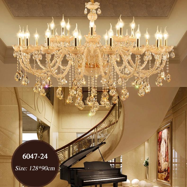 Đèn chùm pha lê nến kiểu Ý sang trọng đầy ấn tượng 6047 mẫu 24 bóng