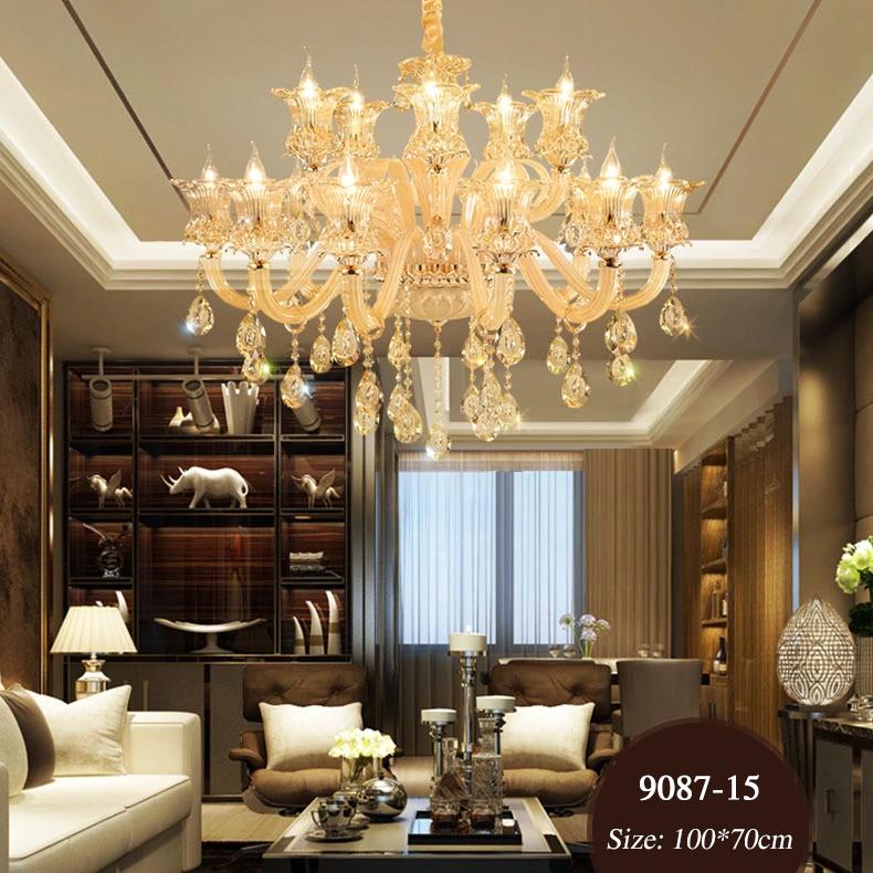 Đèn chùm pha lê nến kiểu Ý sang trọng đầy ấn tượng 9087 mẫu 15 bóng