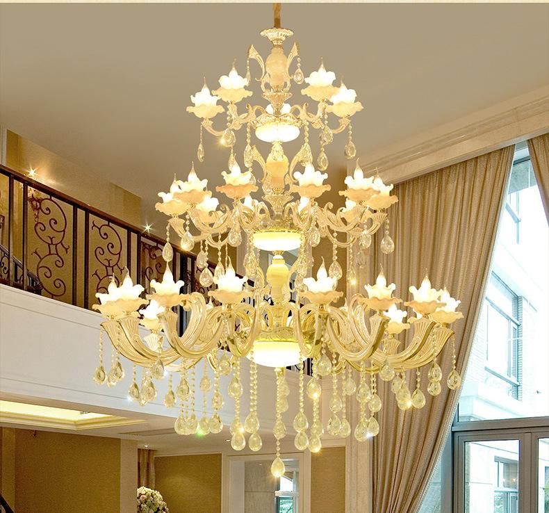 Đèn chùm pha lê phong cách biệt thự Châu Âu và khách sạn lớn sang trọng đầy ấn tượng KRS249 1,5m mẫu bông sen
