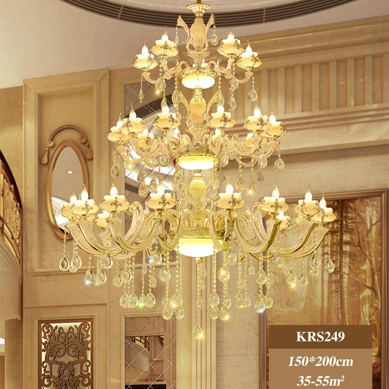 Đèn chùm pha lê phong cách biệt thự Châu Âu và khách sạn lớn sang trọng đầy ấn tượng KRS249 1,5m mẫu Sen vàng