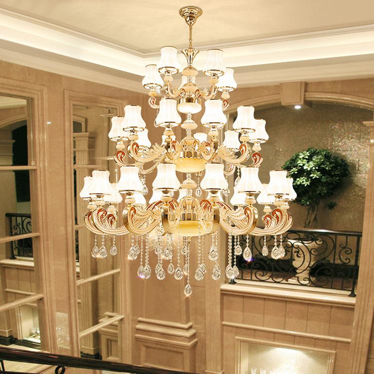 Đèn chùm pha lê phong cách biệt thự Châu Âu và khách sạn lớn sang trọng đầy ấn tượng KRS249 1,5m mẫu đèn lồng