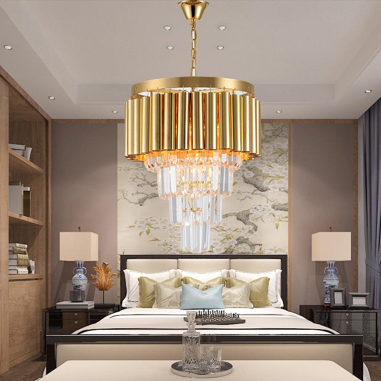 Đèn chùm pha lê phong cách Châu Âu sang trọng đầy ấn tượng 8532 màu vàng size 40*48cm