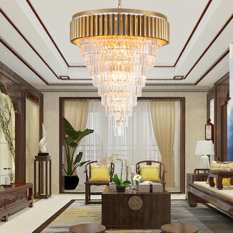 Đèn chùm pha lê phong cách Châu Âu sang trọng đầy ấn tượng 8532 màu vàng size 80*90cm