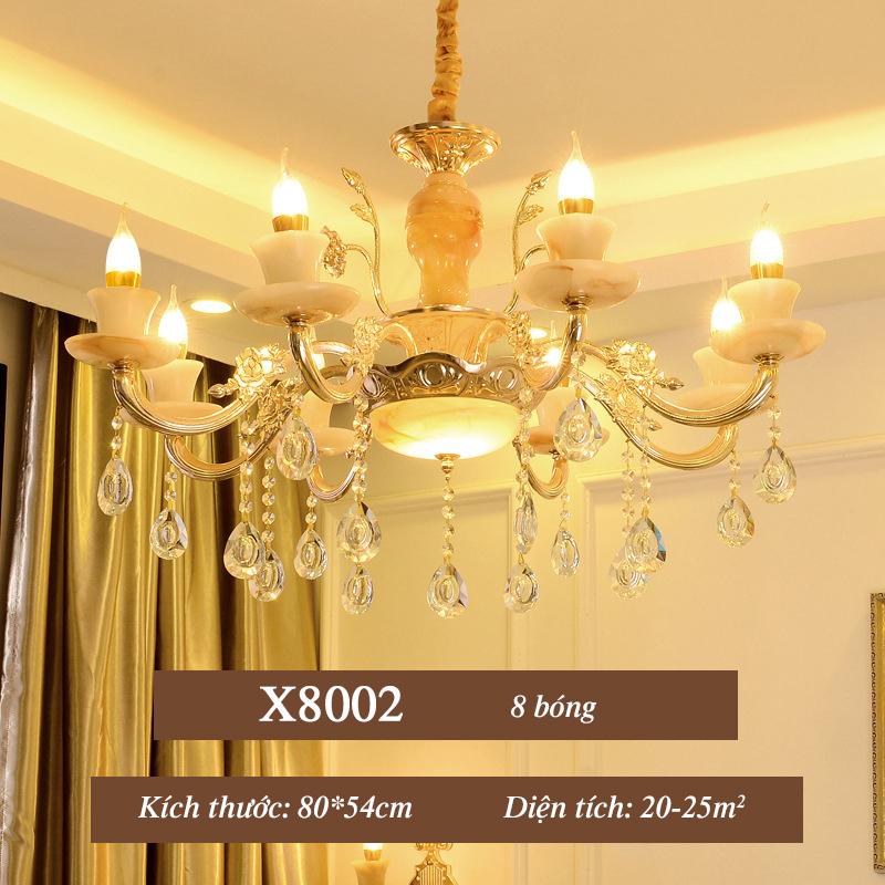 Đèn chùm pha lê phong cách Châu Âu sang trọng đầy ấn tượng X8002