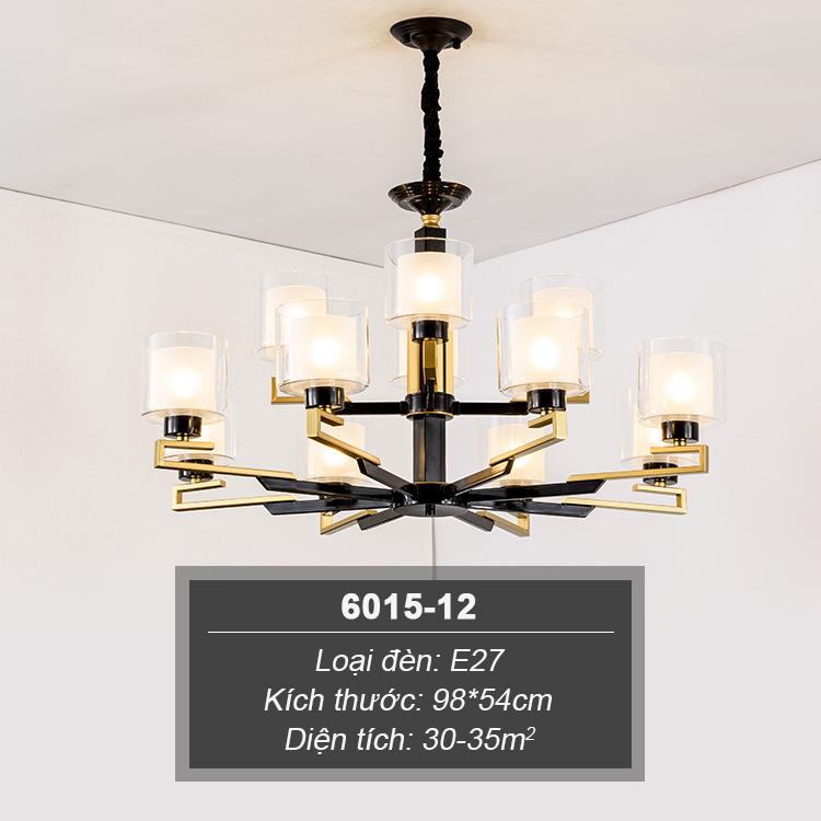 Đèn chùm phong cách Châu Âu thiết kế sang trọng hiện đại đầy ấn tượng 6015-12