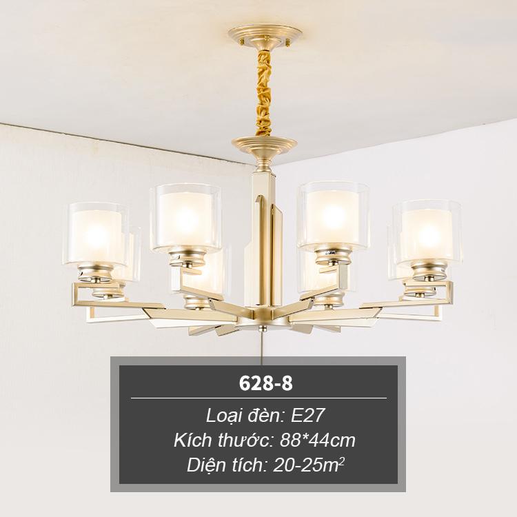 Đèn chùm phong cách Châu Âu thiết kế sang trọng hiện đại đầy ấn tượng 628-8