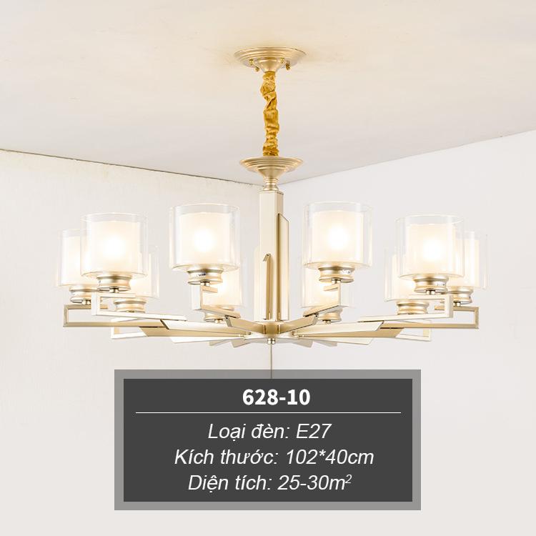 Đèn chùm phong cách Châu Âu thiết kế sang trọng hiện đại đầy ấn tượng 628-10