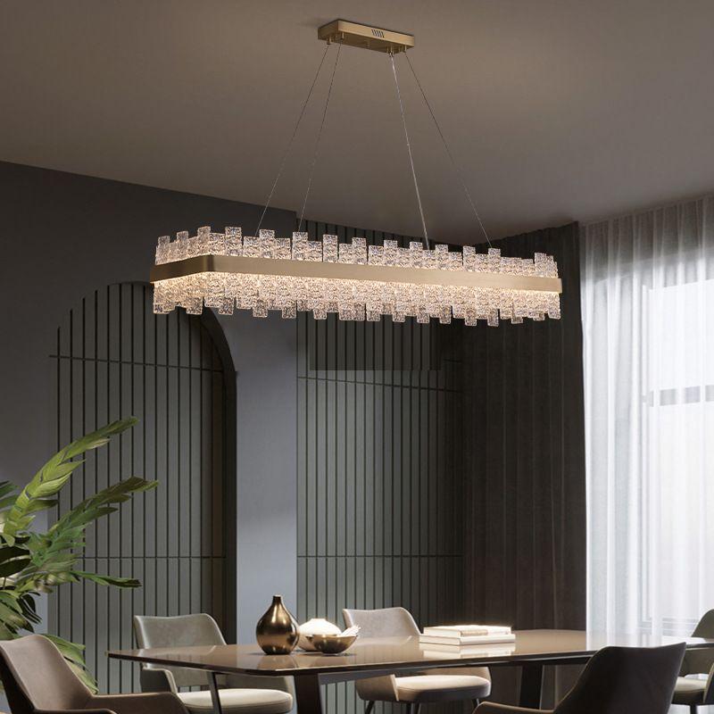 Đèn thả trần pha lê thiết kế sang trọng cho không gian hiện đại ấn tượng MD6822 hình chữ nhật size 1000mm
