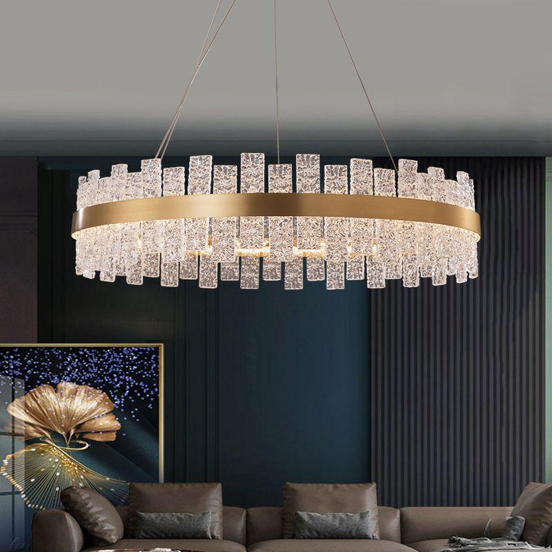 Đèn thả trần pha lê thiết kế sang trọng cho không gian hiện đại ấn tượng MD6822 hình elip size 1000 * 350mm