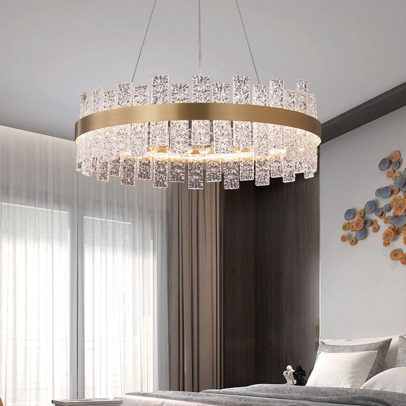 Đèn thả trần pha lê thiết kế sang trọng cho không gian hiện đại ấn tượng MD6822 hình elip size 800 * 350mm