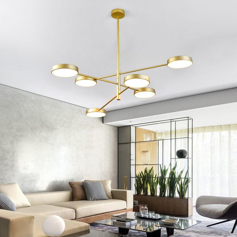 Đèn thả trần phòng khách phong cách Bắc Âu ấn tượng QDH-9110 màu vàng