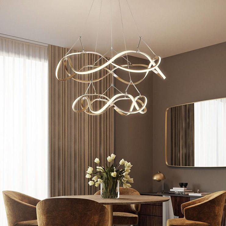 Đèn thả trần phòng khách phong cách sang trọng đầy ấn tượng chức năng làm mờ vô hạn + điều khiển từ xa A835 vòng tròn đôi 55cm+79cm