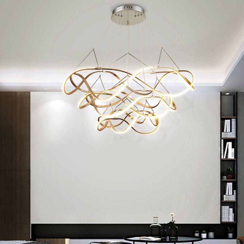 Đèn thả trần phòng khách phong cách sang trọng đầy ấn tượng chức năng làm mờ vô hạn + điều khiển từ xa A835 vòng tròn ba 55cm+ 79cm+100cm