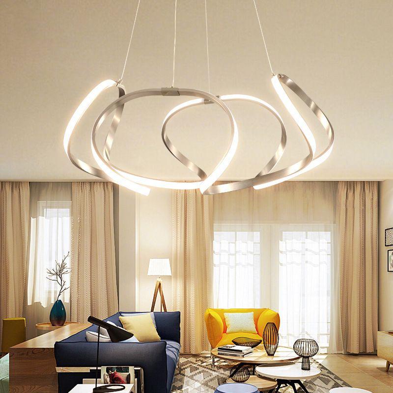 Đèn thả trần phòng khách phong cách sang trọng đầy ấn tượng làm mờ ánh sáng + điều khiển từ xa 2225 size 80cm màu xám bạc