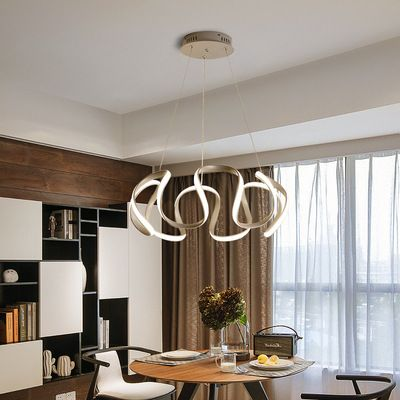 Đèn thả trần phòng khách phong cách sang trọng đầy ấn tượng làm mờ ánh sáng + điều khiển từ xa 2225 size 60cm màu xám bạc