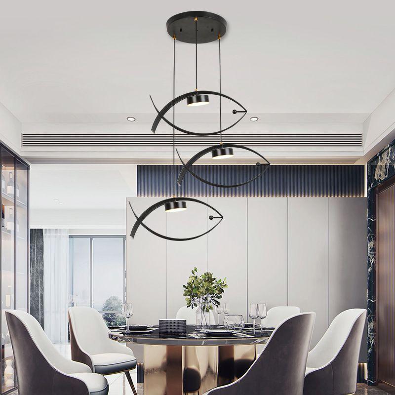 Đèn thả trần thiết kế hình cá cho không gian hiện đại ấn tượng đầu đơn màu đen 6546