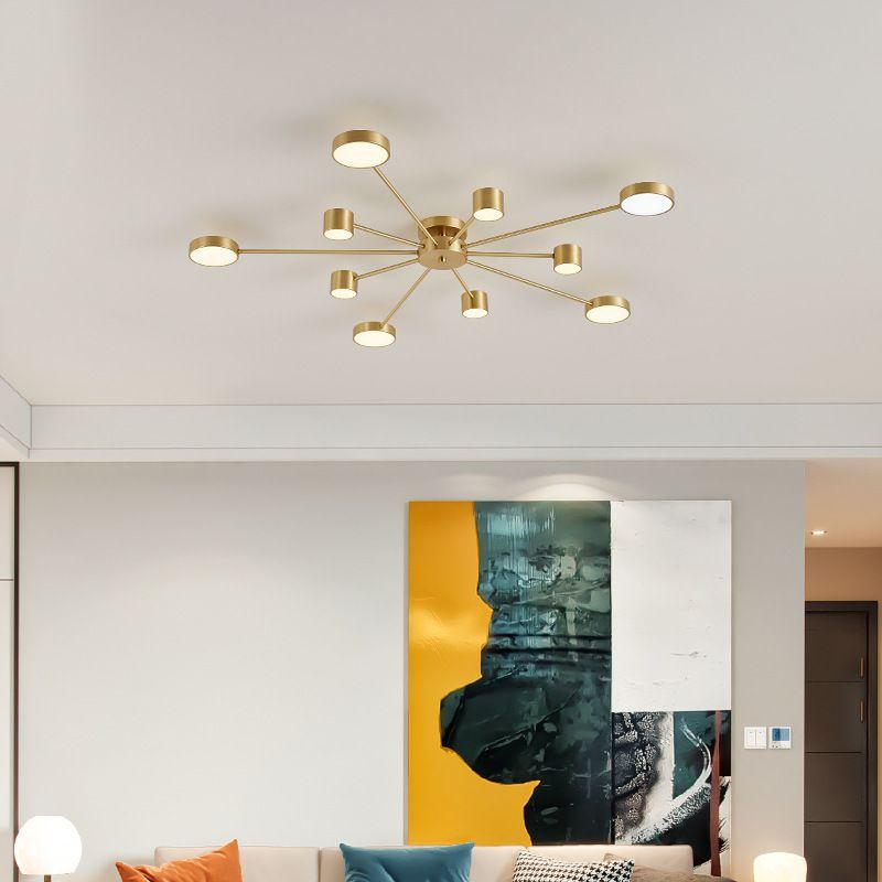 Đèn trần phòng khách phong cách Bắc Âu ấn tượng L149 10 bóng