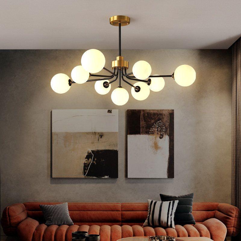 Đèn trần phòng khách phong cách Bắc Âu ấn tượng 8737 9 bóng khung vàng