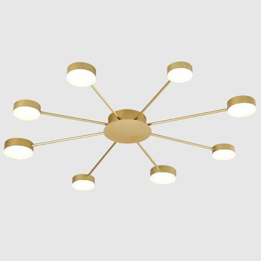 Đèn trần phòng khách phong cách Bắc Âu ấn tượng MH047 8 bóng khung vàng
