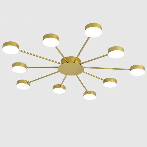 Đèn trần phòng khách phong cách Bắc Âu ấn tượng MH047 10 bóng khung vàng